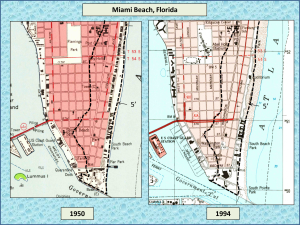 Miami Beach topographic maps for 1950 and 1994. Note that the 5' elevation contour has not shifted (USGS).