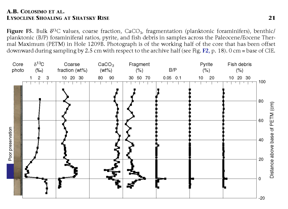 Fig F5 EVIDENCE FOR LYSOCLINE SHOALING PETM Shatsky RIse